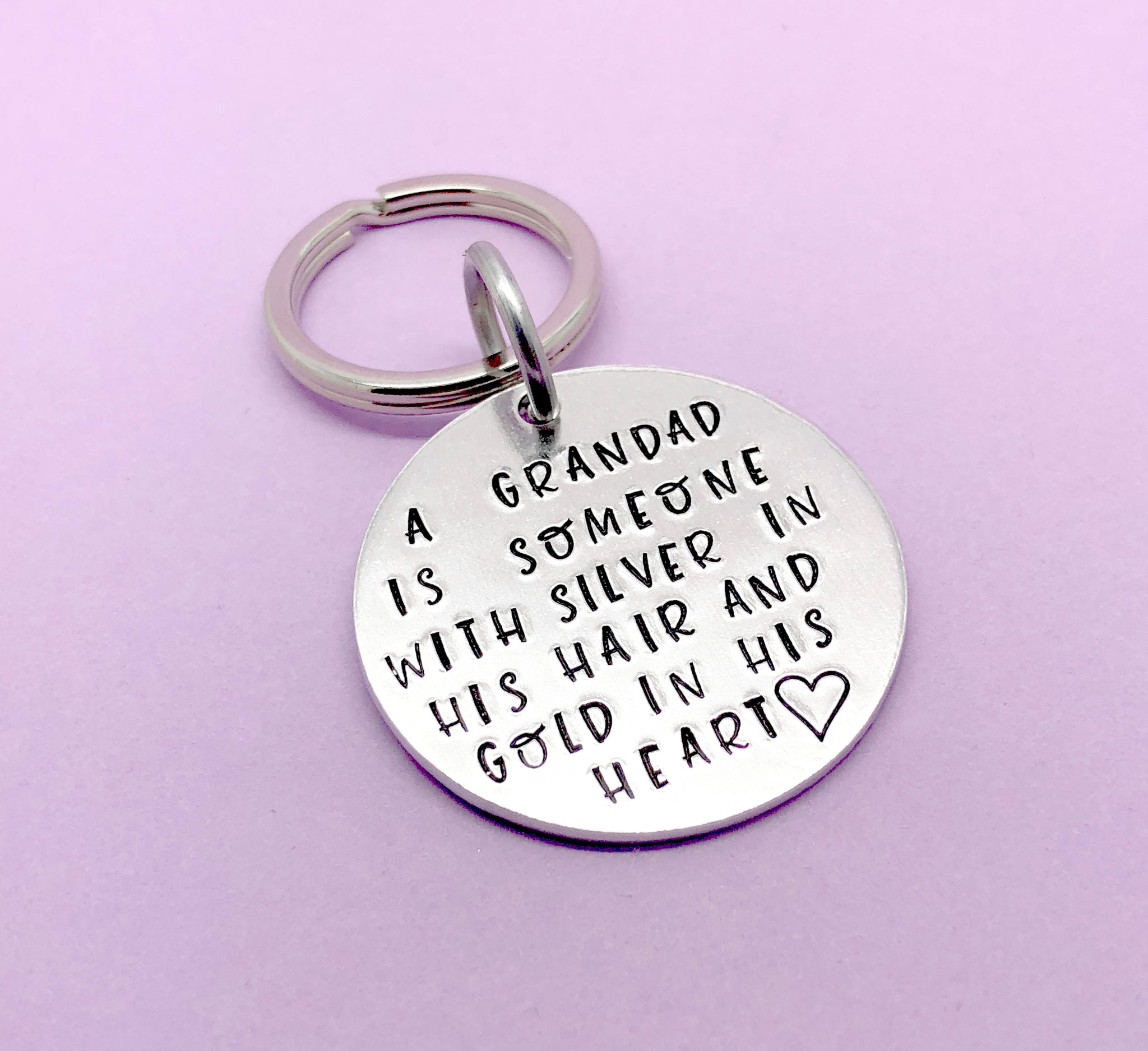A Grandad is someone with silver in their hair and gold in his heart keyring