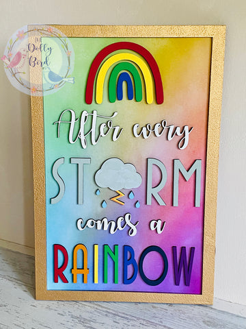Rainbow Quote Wooden Sign, After Every Storm Comes A Rainbow , Rainbow Gift, Nursery Decoration, New Baby Gift, Rainbow Baby