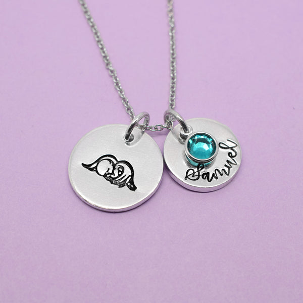 Angel Baby Necklace, Infant Loss Jewellery, Infant Loss Jewelry, Personalised Angel Necklace, Memorial Jewelry, Born Sleeping, Miscarriage