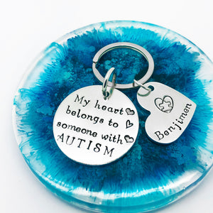 My Heart Belongs To Someone With Autism Personalised Keyring, Autism Parent Keyring Keychain, Autism Quote Keyring, Autism Charm Personalised Keyring, ASD Keyring, Autism Mom Keychain, Autism Awareness