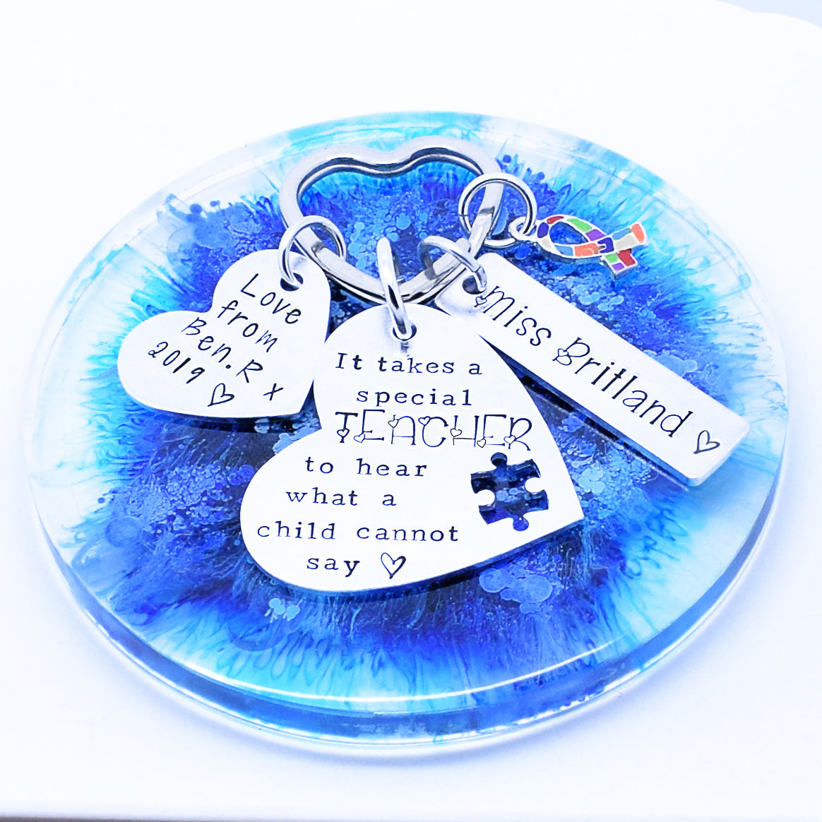 Autism Teacher Keyring Keychain, Autism Quote Keyring, Autism Charm Personalised Keyring, Teacher Gift, TA Gift, Keyworker Gift, ASD Keyring