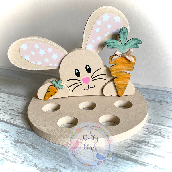Wooden Bunny Easter egg Holder, Personalised Bunny Kinder Egg Creme Egg Holder, Personalised Easter egg Gift, Bunny Egg Holder, Easter Gift