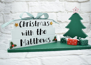 Family Christmas Sign, Christmas Family Block Set, Christmas With The Sign, Family Christmas Plaque, Personalised Family Christmas Plaque