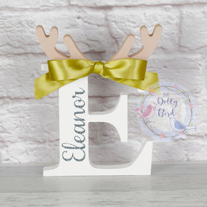 Freestanding Initial Reindeer antler Christmas Name Wooden Letter, Personalised Christmas Antler Letter, Freestanding Initial Christmas Letter, Christmas Decor