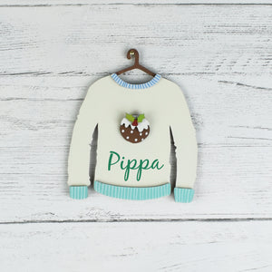 Personalised Wooden Christmas Pudding Jumper Hanging Tree Decoration- Cream
