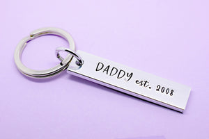 Daddy Keyring Keychain, Dad Keyring Keychain, Fathers Day Gift, Personalised Dad Keyring, Dad Established Year, New dad Gift, Gift For Dad