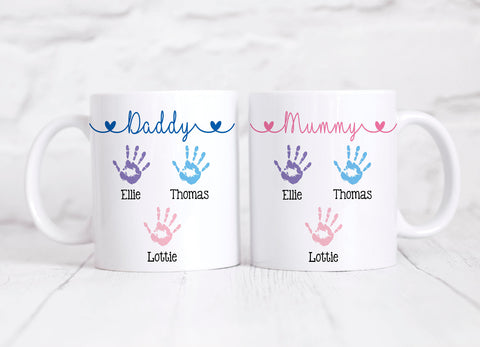 Mummy and Daddy Handprint Personalised Mugs Set, Mothers Day Gift, Fathers Day Gift, New Parents, New Mum Gift, New Dad Gift, Baby Shower