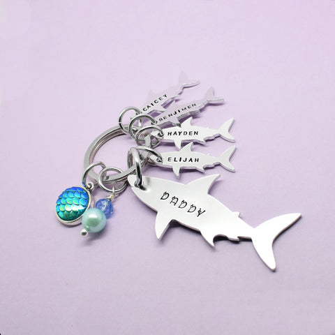 Daddy Shark Keyring, Daddy Shark Keychain, Daddy Shark Gift, Daddy Keyring, Daddy This Belongs to, Dad Stocking Filler, Daddy Christmas Gift