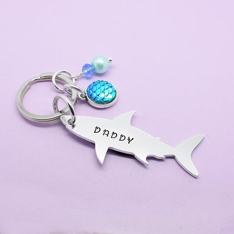 Daddy Shark Keyring, Daddy Shark Keychain, Daddy Shark Gift, Daddy Keyring, Gift For Dad, Dad Stocking Filler, Daddy Christmas Gift, Shark