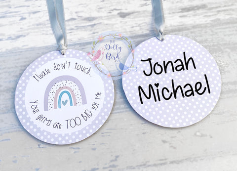 Don't Touch The Baby sign - Grey Neutral Rainbow Design, Your Germs Are Too Big For Me, Baby Car Seat Tag, Baby Pram Sign, Personalised, Baby Shower Gift, Baby Sign