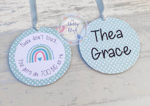 Don't Touch The Baby sign - Pale Green Neutral Rainbow Design, Your Germs Are Too Big For Me, Baby Car Seat Tag, Baby Pram Sign, Personalised, Baby Shower Gift, Baby Sign