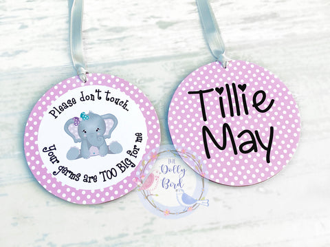 Don't Touch The Baby sign - Pink Elephant Design, Your Germs Are Too Big For Me, Baby Car Seat Tag, Baby Pram Sign, Personalised, Baby Shower Gift, Baby Girl Sign