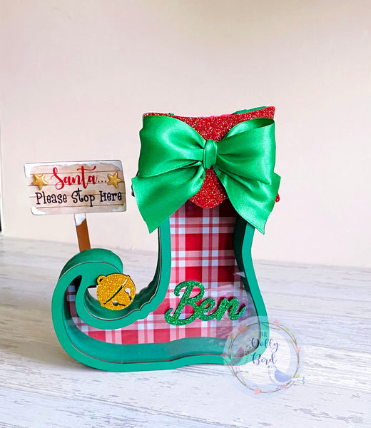 Personalised Fillable Christmas Elf Boot Shoe Chocolate Holder, Christmas Elf Fillable Box, Christmas Elf Gift, Christmas Advent, Elf Advent