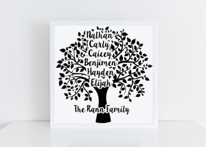 Personalised Family Tree vinyl cut framed picture