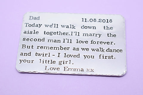 Personalised Father of the Bride wallet insert- I loved you first, your little girl