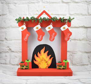 Christmas Fireplace, Family Christmas Fireplace Ornament, Personalised Christmas Fireplace Decoration With Stockings, Traditional Christmas
