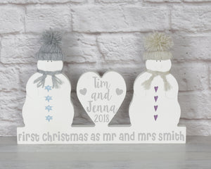 First Christmas As Mr And Mrs, Personalised Christmas Mr and Mrs Snowmen Decoration, Wedding Gift, Mr and Mrs Christmas Ornament, Rustic
