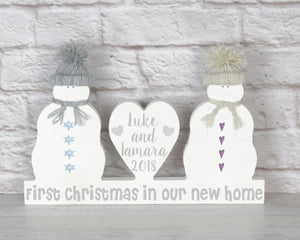 First Christmas In Our New Home, Personalised Christmas Snowmen Couple Decoration, New Home Gift, New Home Christmas Ornament, House