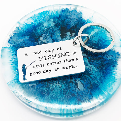 Fishing Quote Keyring, Fishing Keyring, Fishing Gift, Fisherman Gift, Fishing Quote, Fishing Keychain, Angler Keyring, Fishing Lover, Fishing Gift, For Him