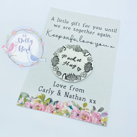 Pocket Hug Stamped Keepsake - Floral Pocket Hug,  Personalised Pocket Hug, Travel Gift, Travel Pocket Hug