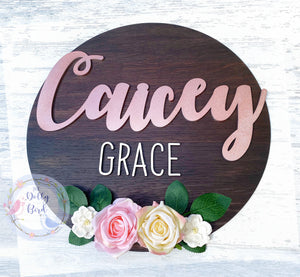 Floral Wooden Room Name Sign, Wooden Floral Name Plaque, Girls Bedroom Decor, Girl Nursery Decor, Girls Room Sign, Personalised Name Sign