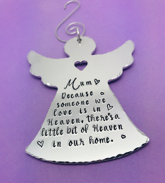 Because someone we love is in heaven personalised Christmas angel tree ornament, Memorial Tree Decoration, Angel Christmas Decoration