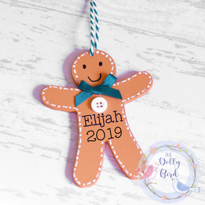 Gingerbread Personalised Tree Decoration, Childs Tree Decoration, Babies 1st Christmas, Personalised Tree Bauble, Name Bauble, Tree Ornament