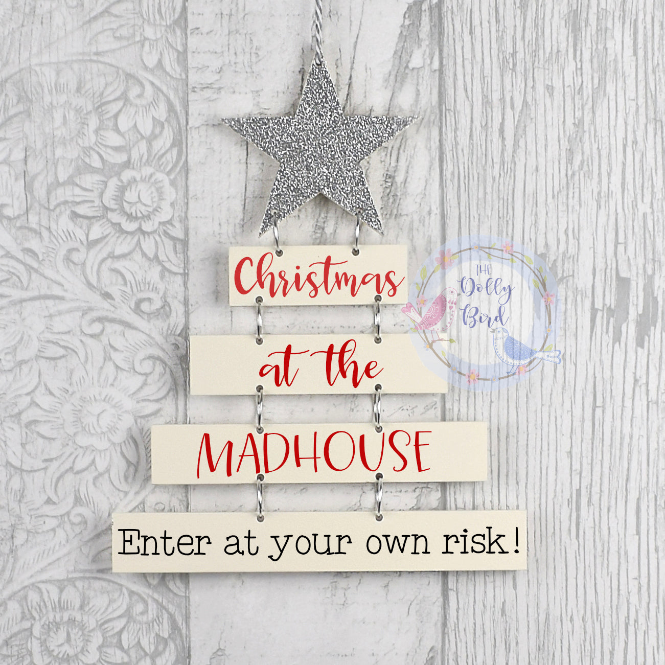 Christmas At The Madhouse Wooden Hanging Sign, Funny Christmas Decoration, Family Christmas Decoration, Novelty Christmas Decoration