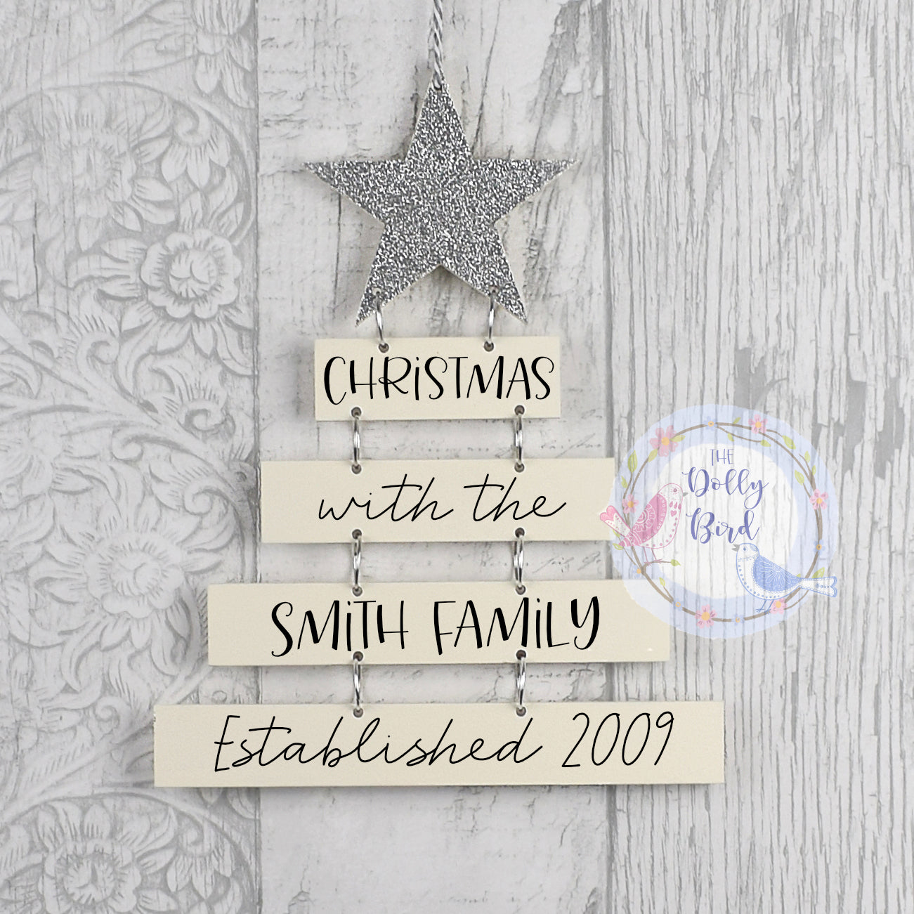 Personalised Family Christmas Plaque, Personalised Family Christmas Hanging Sign, Silver And Cream Christmas Decoration, Family Name sign
