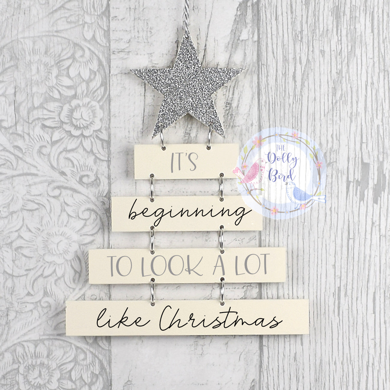 Christmas Quote Wooden Hanging Sign, Silver And Cream Christmas Decoration, Glitter Christmas Decoration, Christmas Quote Hanging Plaque