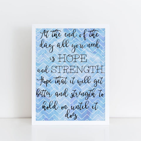 Strength and Hope Motivational framed A4 print