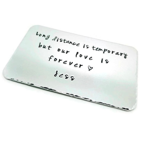 Long Distance Relationship Personalised Wallet Insert