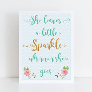 She Leaves A Little Sparkle Wherever She Goes framed A4 print