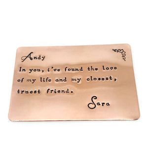 The Love Of My Life Personalised Copper Wallet Insert