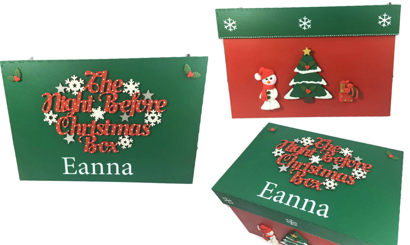 Family Christmas Eve box, Wooden Personalised Christmas Eve Box, Night Before Christmas Eve Box, Grandchildren, Traditional Christmas Gift