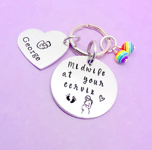 midwife at your cervix personalised keyring