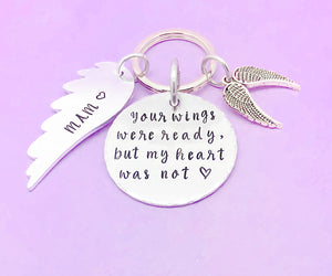 your wings were ready but my heart was not personalised keyring