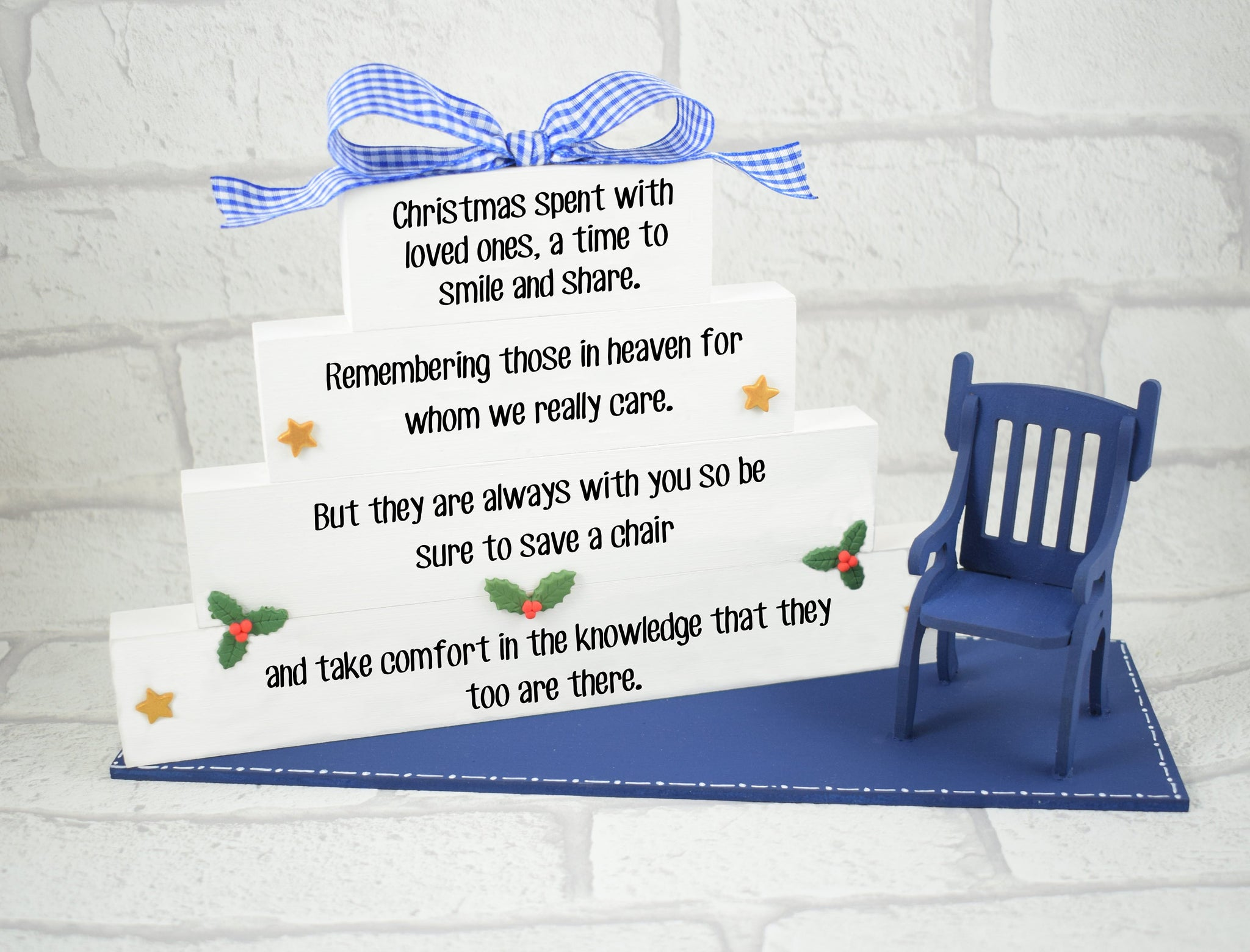 Christmas In Heaven Block Set With Chair Decoration - Royal Blue
