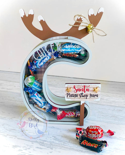Personalised Fillable Christmas Initial Letter Chocolate Holder, Christmas Fillable Box, Christmas Gift, Christmas Advent, Christmas Decor
