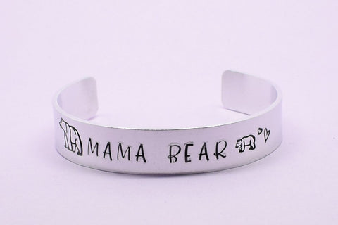 Mama Bear Cuff Bracelet, Mama Bear Bangle, Mama Bear Jewellery, Mum Jewellery, Mom Jewelry, Gift For Mum, New Mum Gift, Personalised Cuff