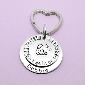 Gift For Midwife, Midwife Gift, Personalised Midwife Gift, Midwife Keyring, Midwife Keychain, Thank You Gift, Handstamped Keyring, Quote