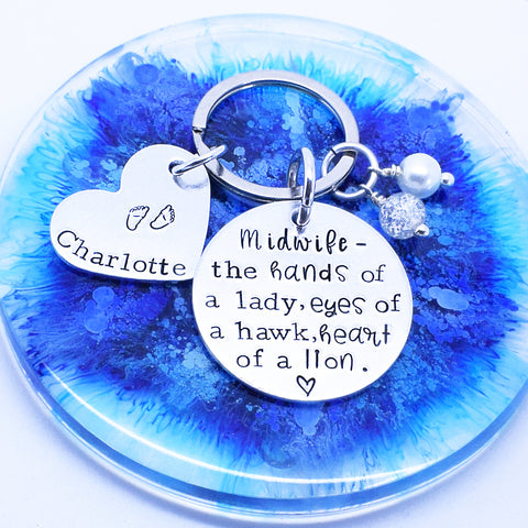 Midwife Quote Personalised Keyring, Midwife Gift, Personalised Midwife, Gift For Midwife, Midwife Birthday Gift, Midwife Christmas Gift