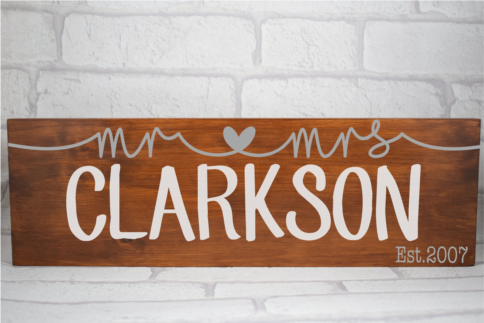 Mr and Mrs Surname Personalised solid pine wood sign