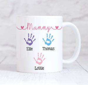Mummy Handprint Mug, Mothers Day Gift, Personalised Mummy Mug, New Mum Gift, Mummy Coffee Mug, Mummy Gift, Mum Christmas, Mum Birthday