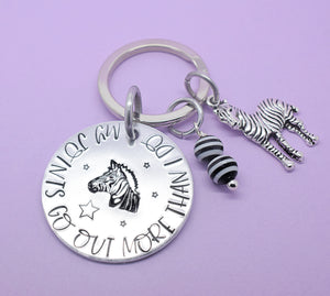 My Joints Go Out More Than I Do Keyring, Zebra Strong Keyring, Zebra Strong Keychain, EDS Awareness, Ehlers Danlos Awareness, EDS Keyring, Invisible Illness, Chronic Illness, Zebra