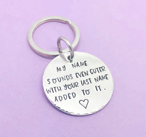 My name sounds even cuter with your last name added to it Handstamped Keyring