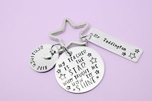 My Teacher Is The Star who taught me how to shine personalised hand stamped keyringTeacher Gift, Personalised Teacher Gift, Teacher Keyring, Gift for Teachers, Thank You Gift, Teaching Assistant Keyworker, Hand Stamped, Personalised Teacher Gift, Thank You Teacher, Teacher Keyring Keychain, Hand Stamped, Teaching Assistant Key Worker Gift, End Of Term Gift