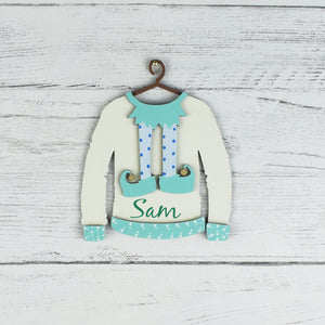 Personalised Wooden Christmas Elf Jumper Hanging Tree Decoration, Christmas Jumper Tree Decorations, Personalised Christmas Elf Jumper Tree Decorations, Wooden Tree Decorations, Name Tree Baubles