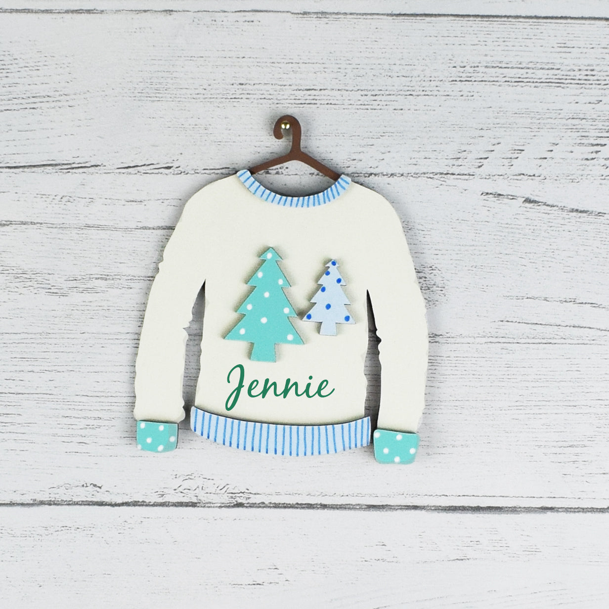 🔎zoom  Request a custom order and have something made just for you. This seller usually responds within 24 hours. Christmas Jumper Tree Decorations, Personalised Christmas Tree Jumper Decorations, Wooden Tree Decorations, Name Tree Baubles
