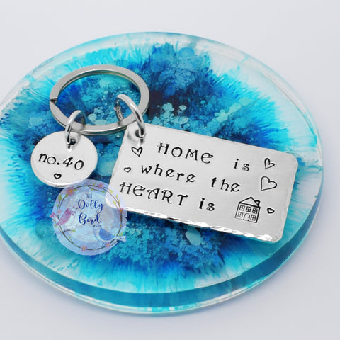 Home Is Where The Heart Is Personalised Keyring, New Home Gift, New Home Keyring Keychain, Home Is Where The Heart Is, Housewarming Gift, Hand Stamped Keyring, Wedding Gift, Keepsake Gift